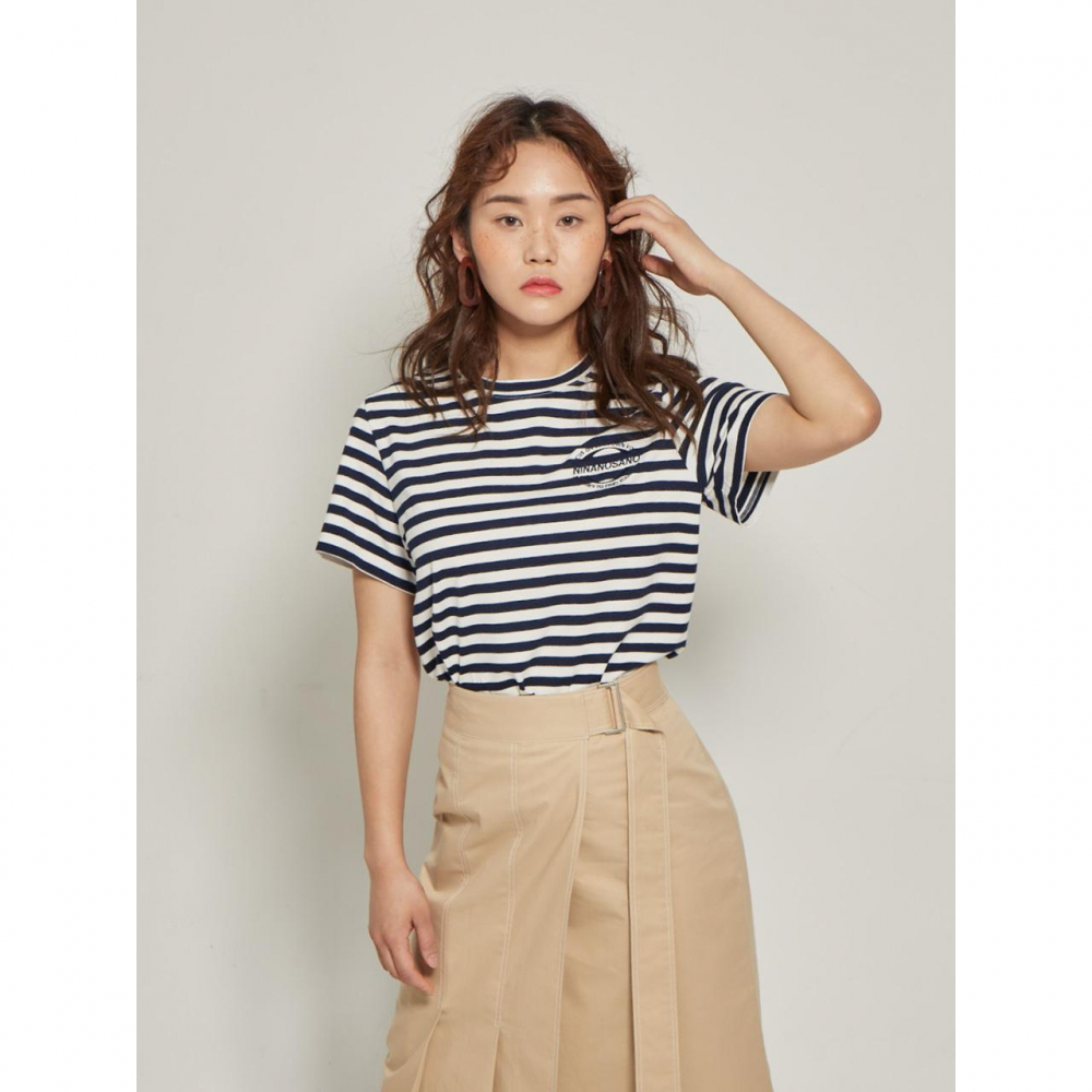 embroidery stripe T-shirts NAVY