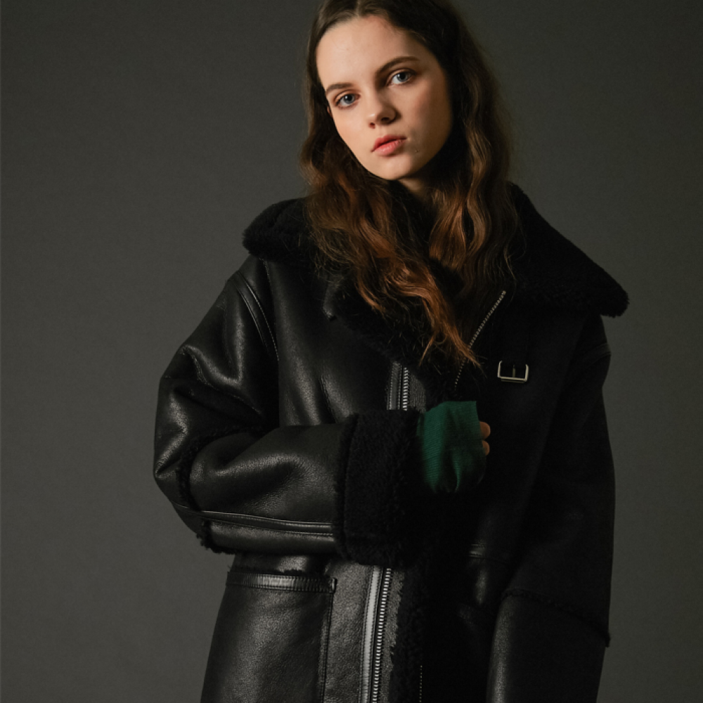 [스페로네]double faced lambskin long mustang(BK)