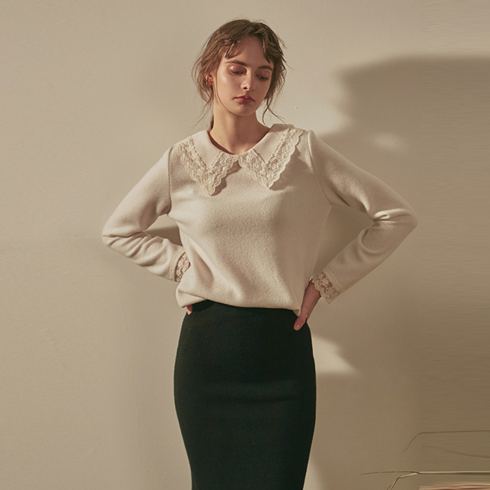 [YAN13] BLOOM FLAT COLLAR KNIT_IVORY