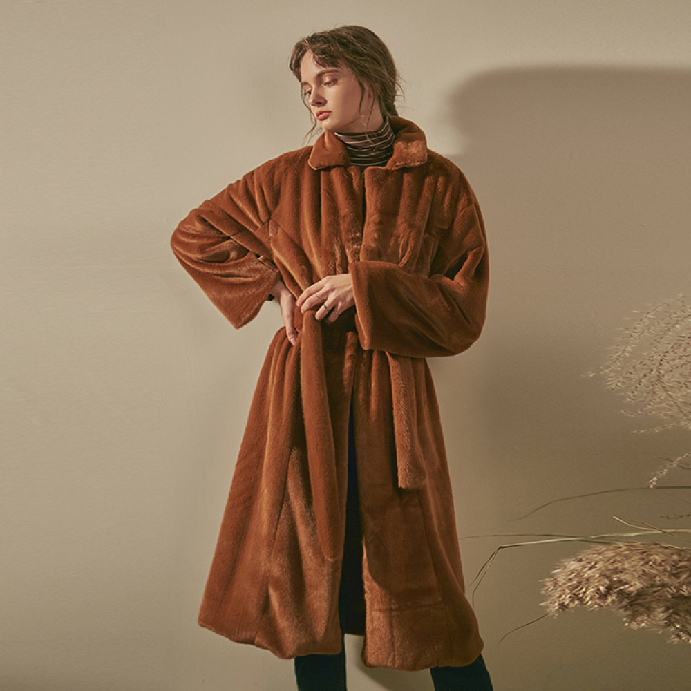 [YAN13] ST SOFT FUR ROBE LONG COAT_CAMEL
