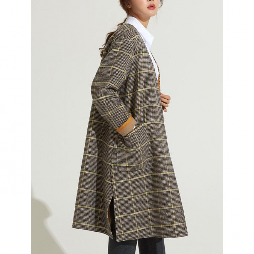 [VOYONN] 18 F/W 002 V-NECK CHECK COAT