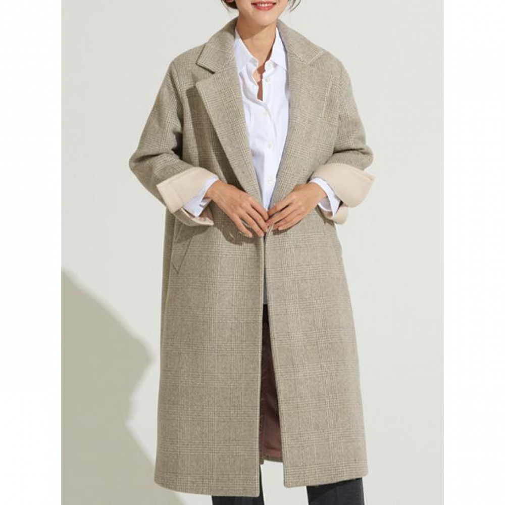 [VOYONN] 18 F/W 005 BEIGE CHECK COAT