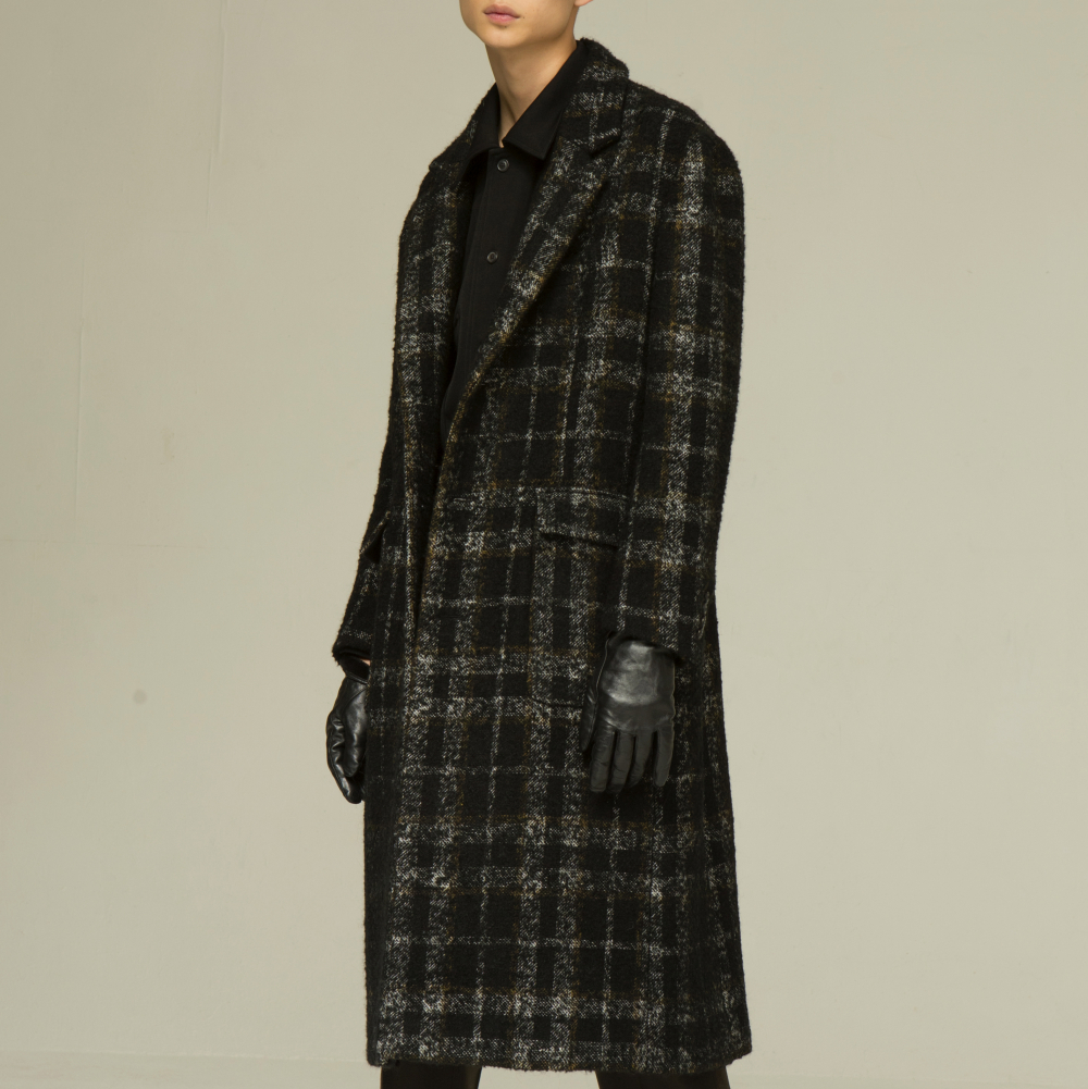 [노이어] [노이어]Check Tweed Maxi Coat