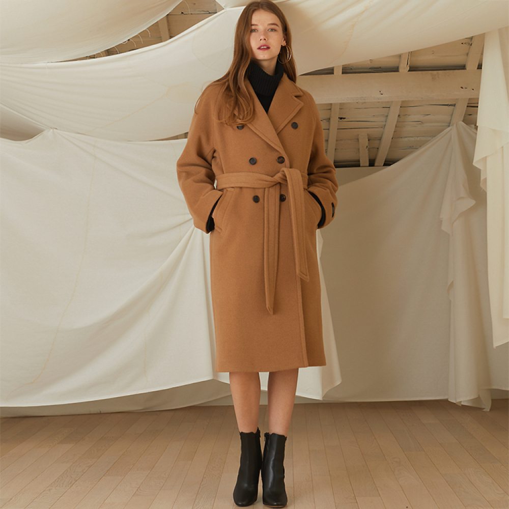 [룩캐스트] BEIGE TRENCH WOOL COAT