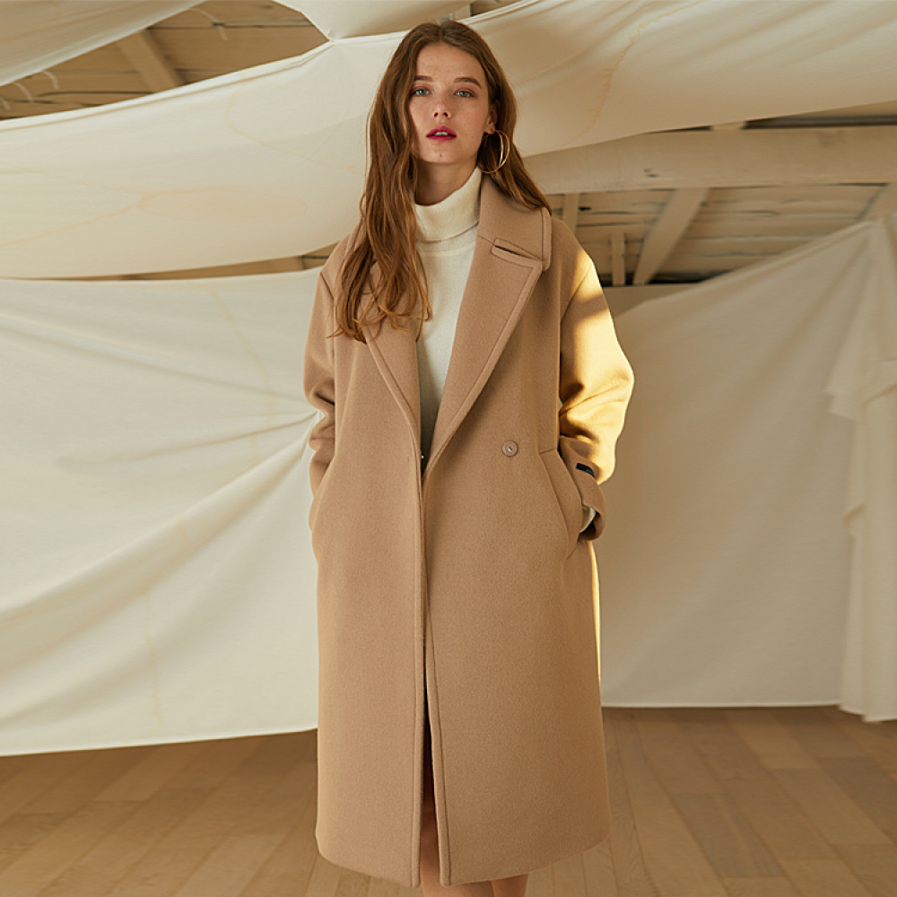 [룩캐스트] BEIGE SNAP WOOL COAT