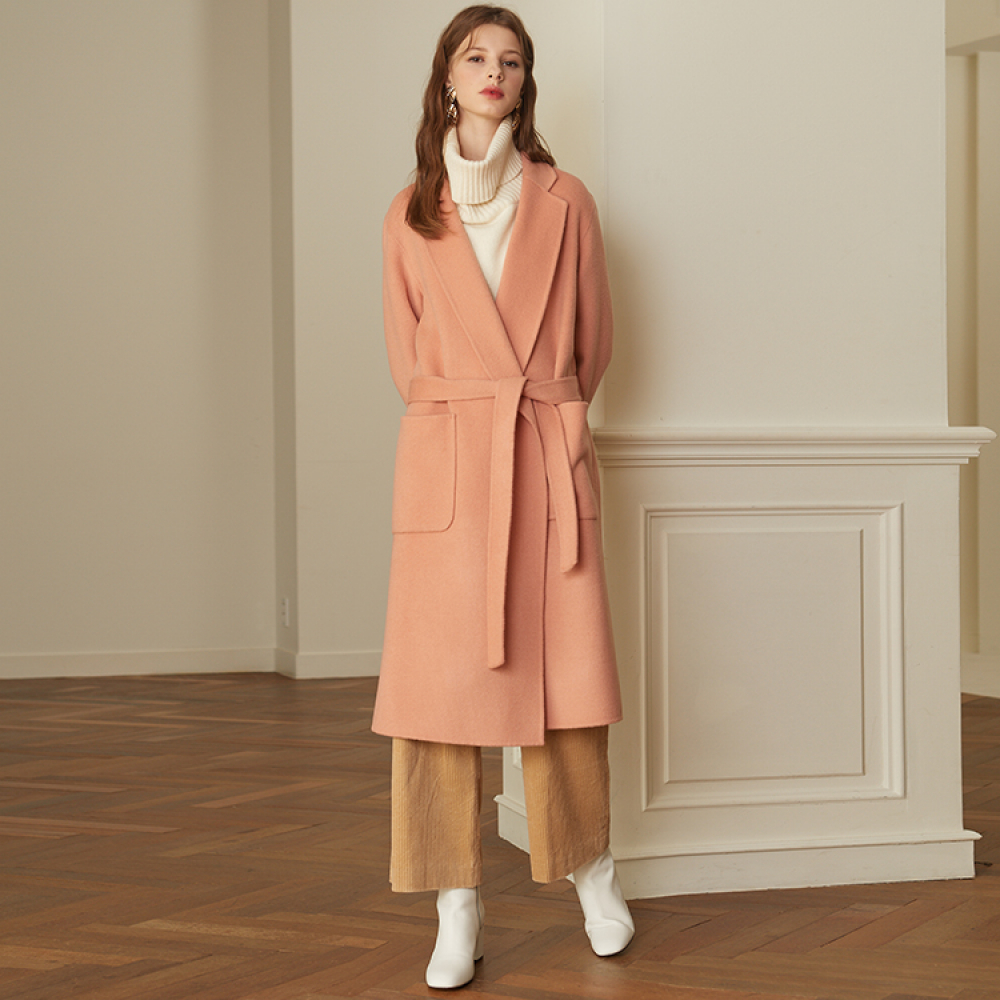 [룩캐스트] PINK NOTCHED LAPEL HANDMADE COAT
