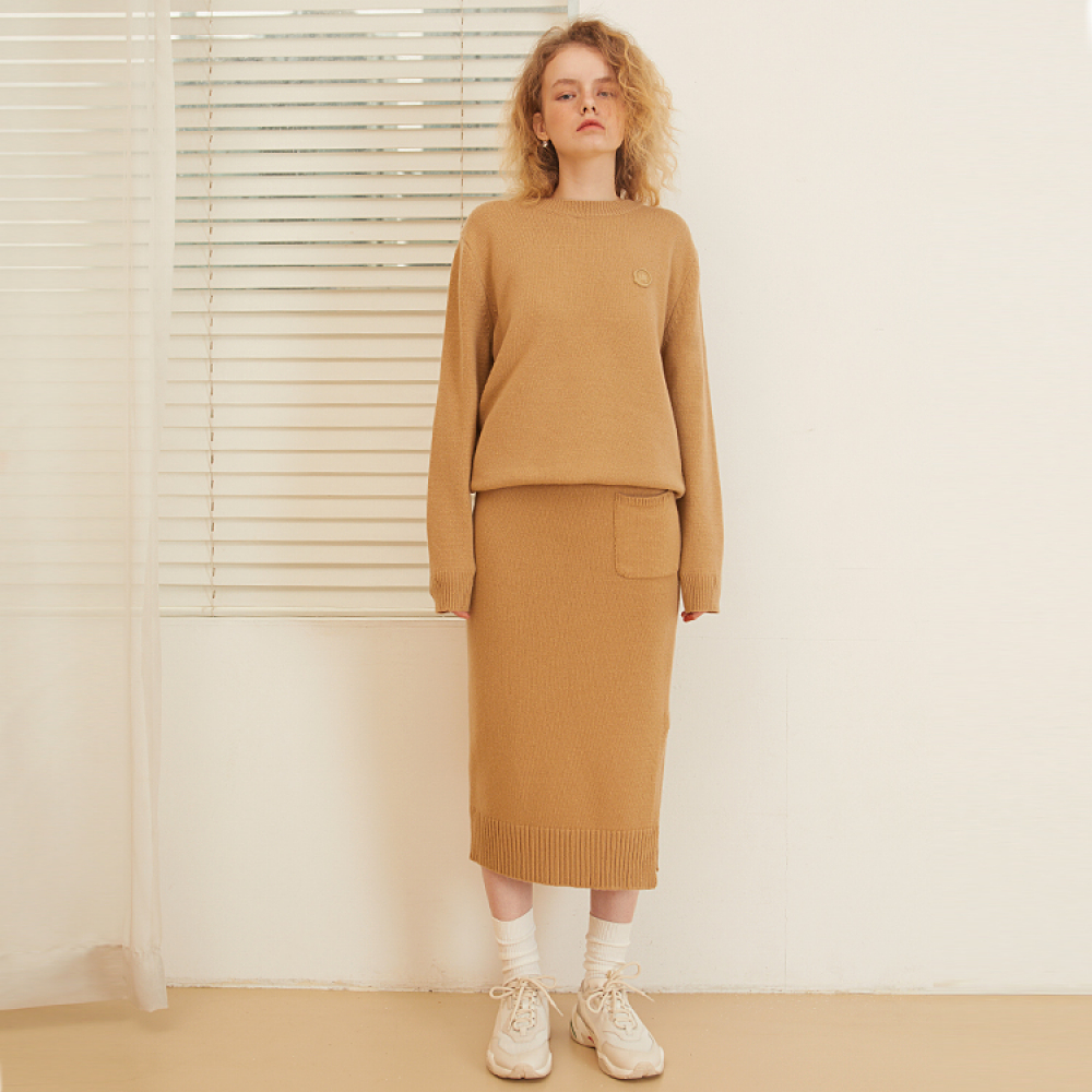 [룩캐스트] BEIGE CASHMERE WOOL KNIT SKIRT