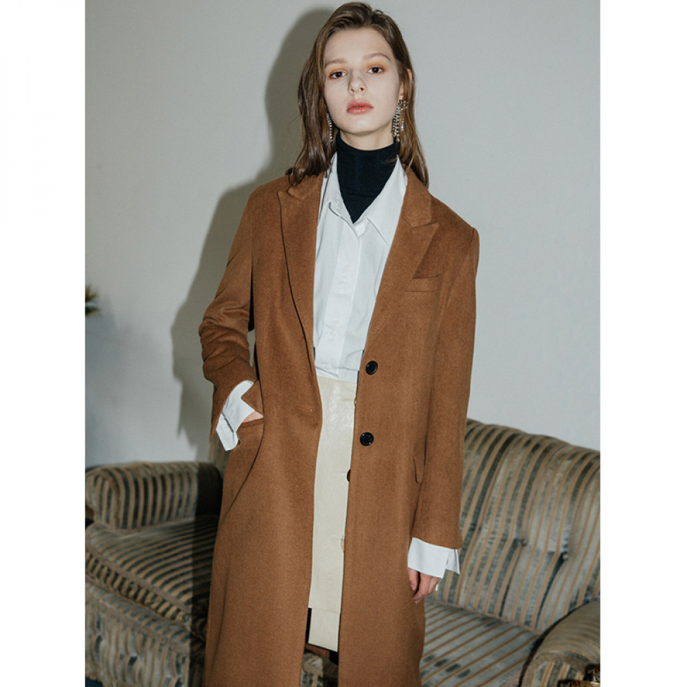 [무니드] [무니드]BASIC WOOL SINGLE LONG COAT - BROWN