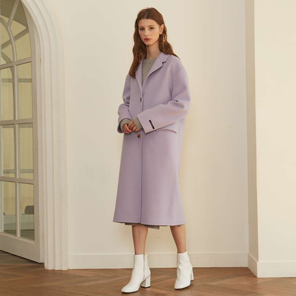 [룩캐스트] PURPLE BASIC CASHMERE HANDMADE COAT
