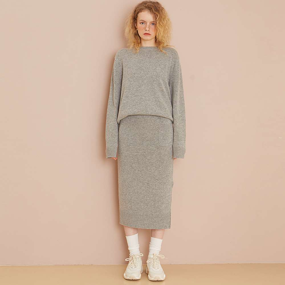 [룩캐스트] GREY CASHMERE WOOL KNIT SKIRT