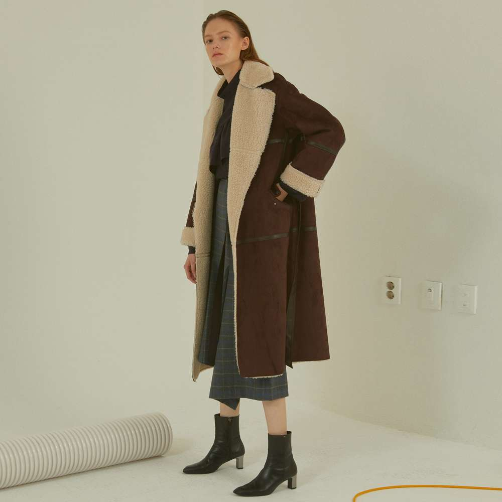 [MUSEE]Marcel faux-shearing mustang coat_brown