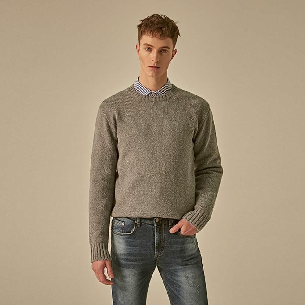 [DEANS] MIX TEXTURE KNIT_GRAY