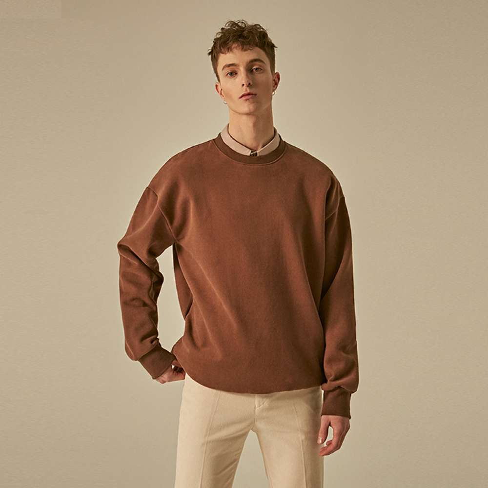 [DEANS] DROP SHOULDER CREW NECK_BROWN