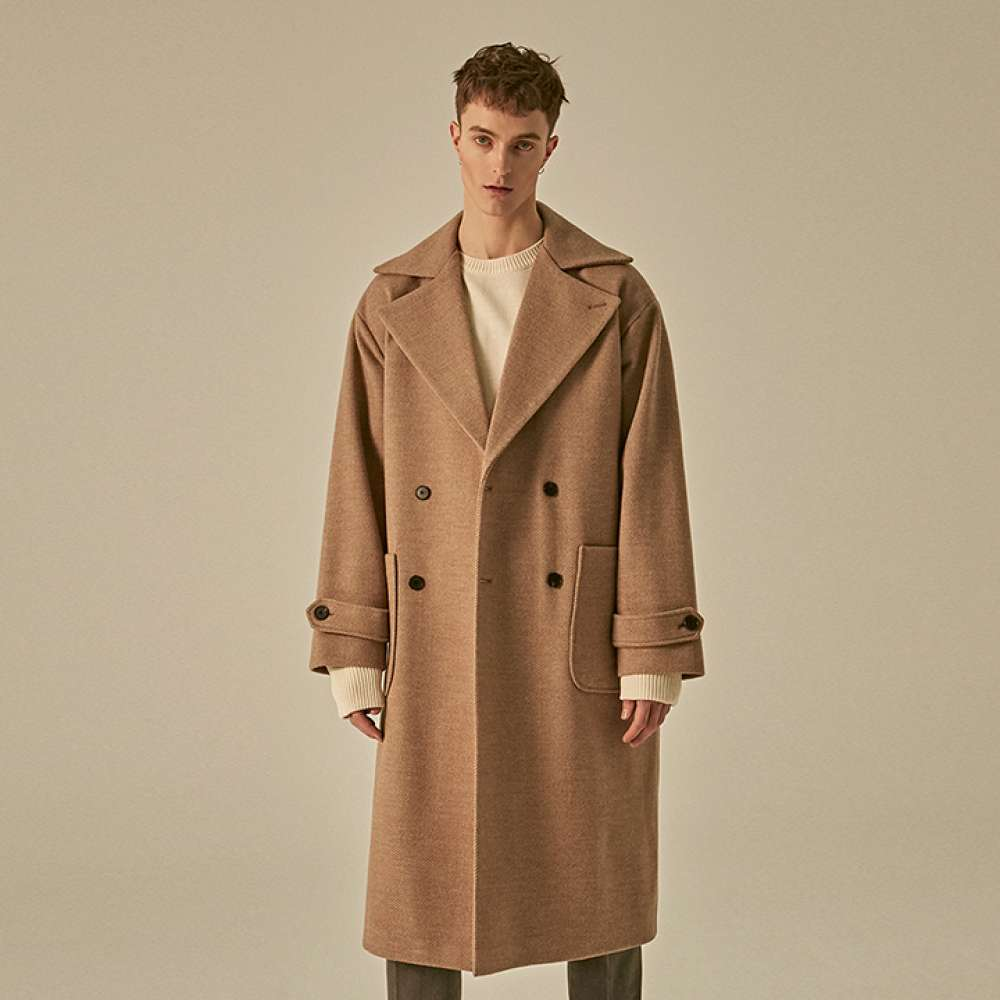 [DEANS] WIDE LAPEL DOUBLE WOOL COAT_BEIGE