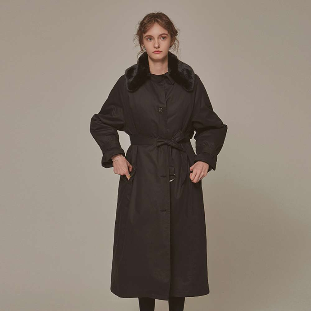 [YAN13] FUR MILITARY PADDING COAT_BLACK