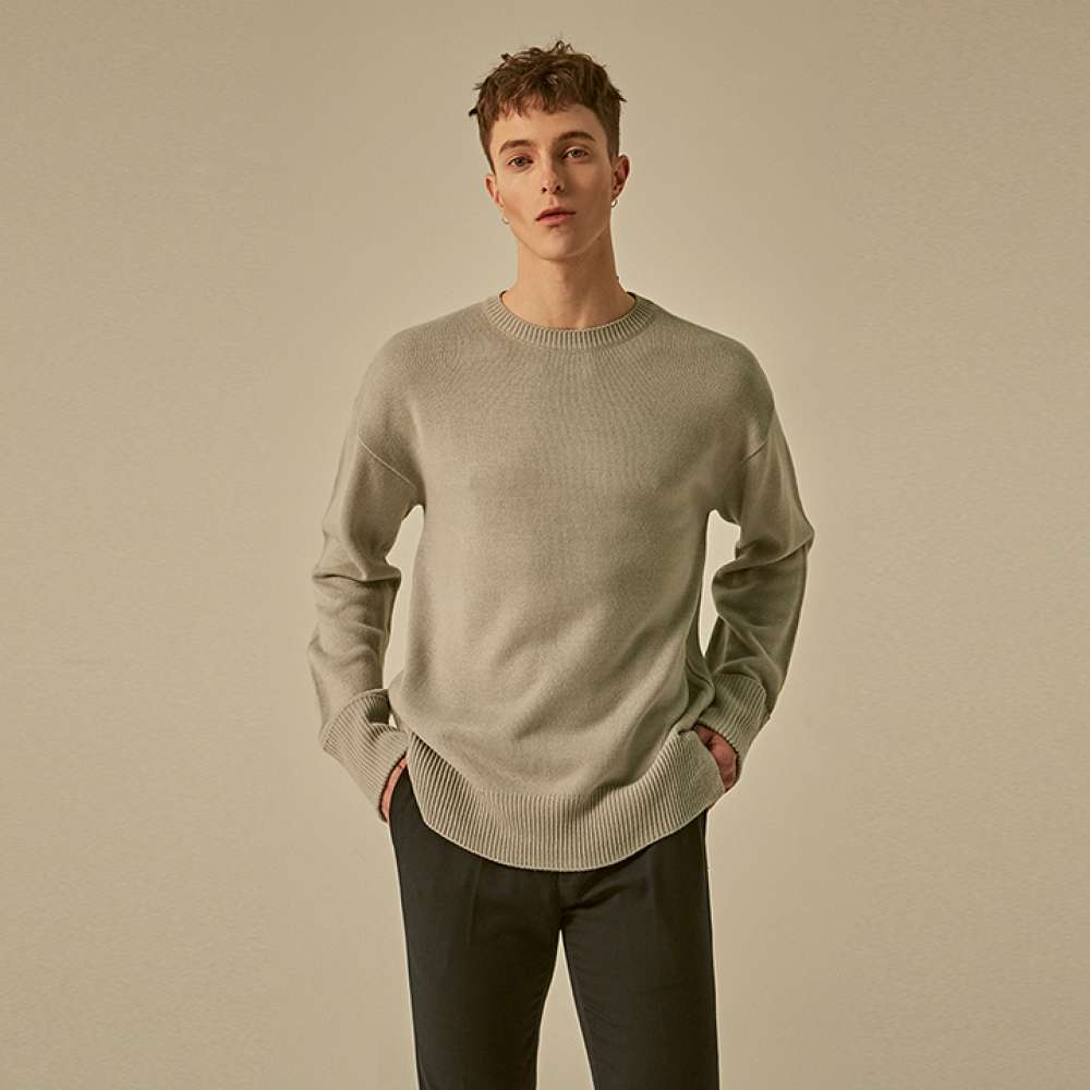 [딘스] SOLID STAND ROUND KNIT_GRAY