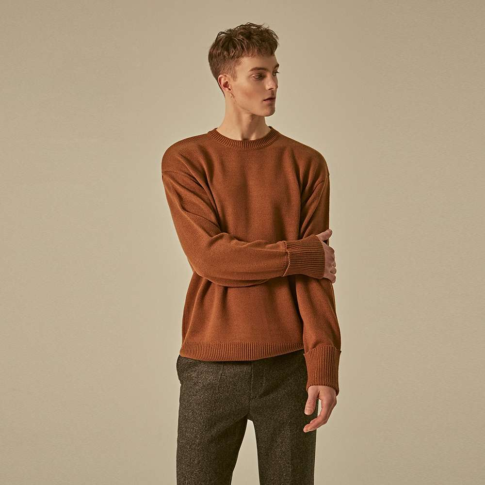 [딘스] SOLID STAND ROUND KNIT_BROWN