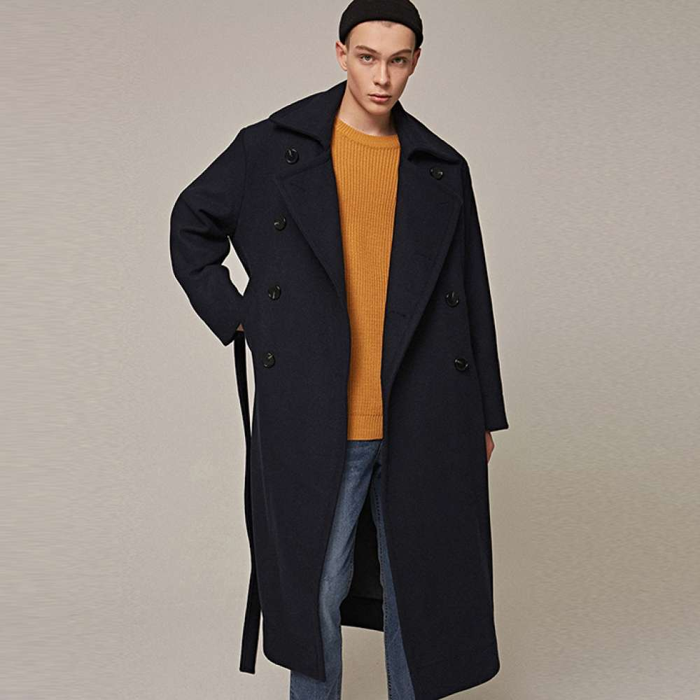 [YAN13] OVER DOUBLE LONG COAT_NAVY