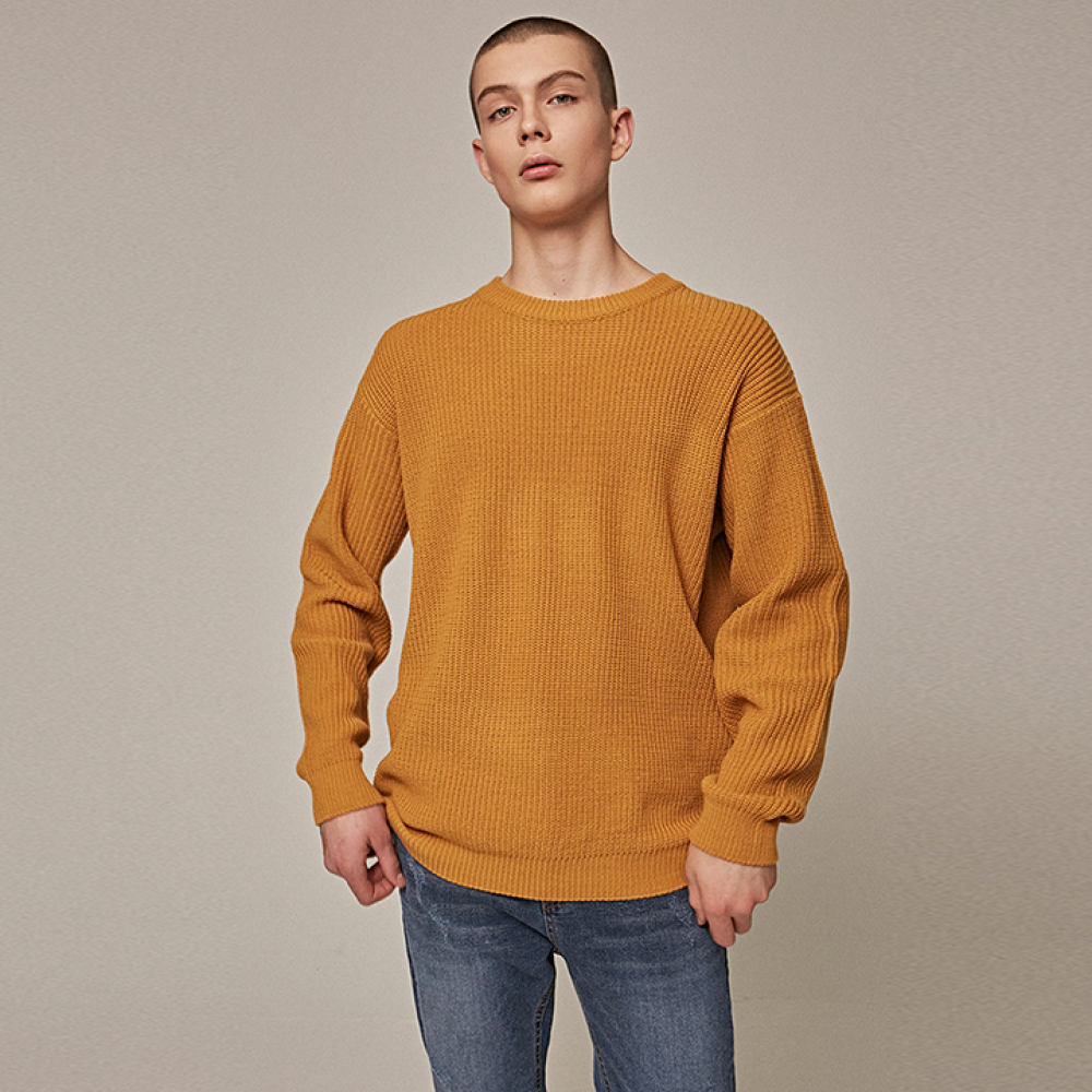 [YAN13] OVER ROUND KNIT_MUSTARD