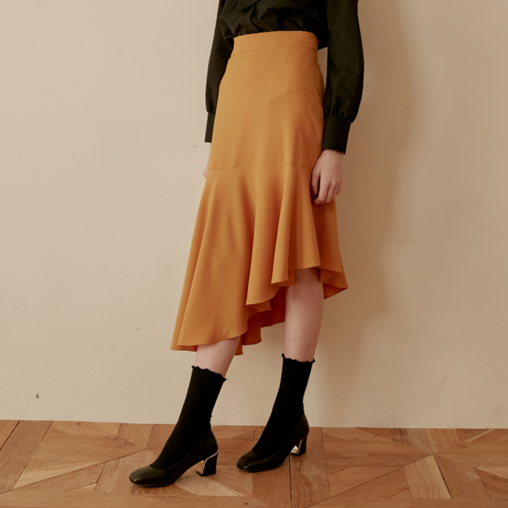 [엽페] UNBALANCE FLARE SKIRT_YELLOW