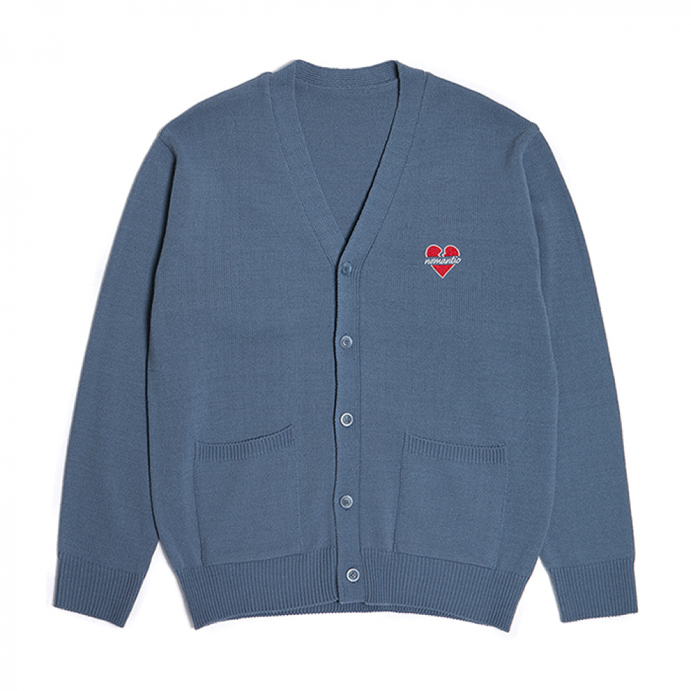 [3/7발송] NOMANTIC LOGO KNIT CARDIGAN BLUE