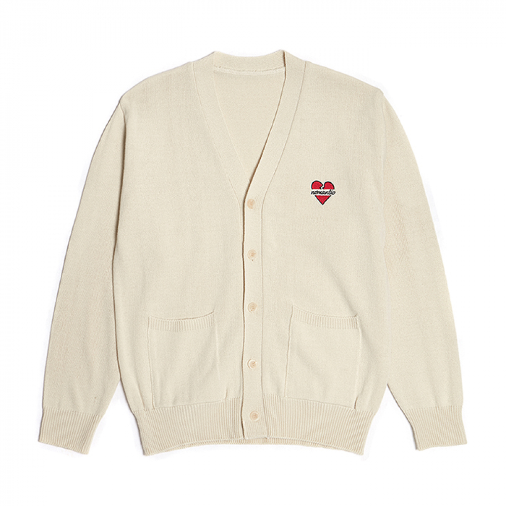 [3/7발송] NOMANTIC LOGO KNIT CARDIGAN IVORY