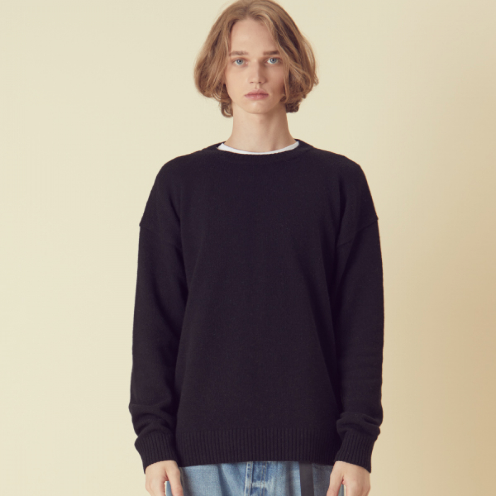 [아르테노] Cash Oversize Solid Knit - Black
