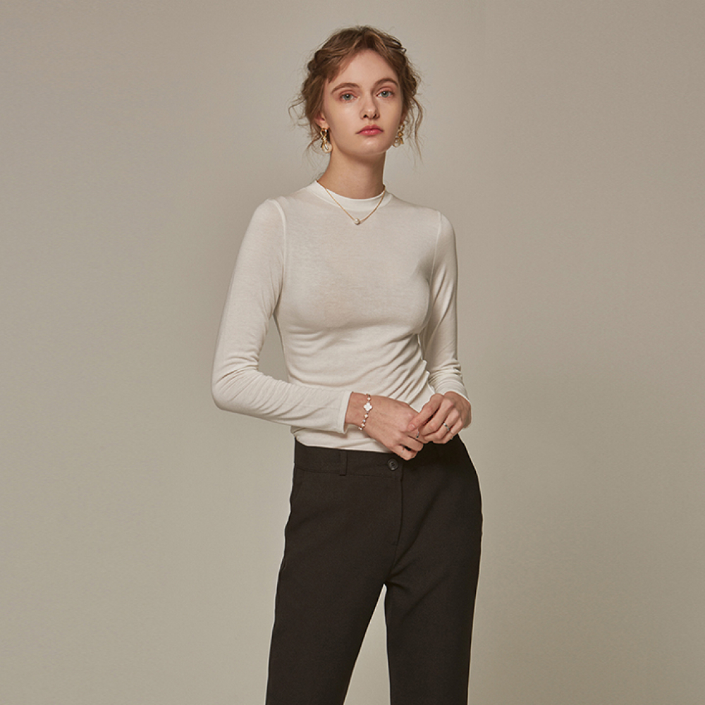[YAN13] SLIM ROUND LONG T-SHIRTS_IVORY