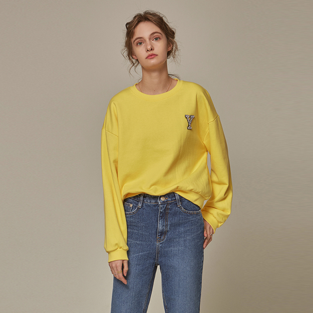 [YAN13] CROP BROOCH CREW NECK_YELLOW