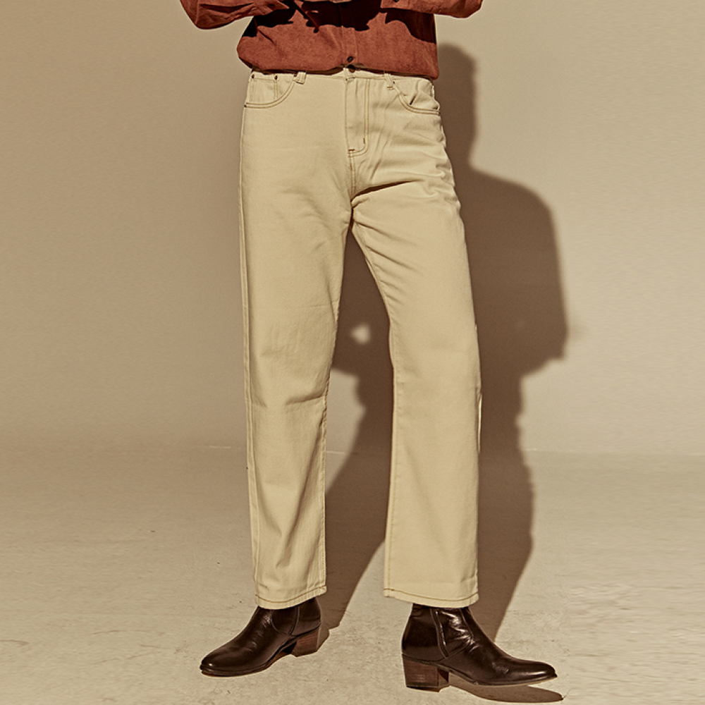 [DEANS] WIDE STRAIGHT COTTON PANTS_CREAM