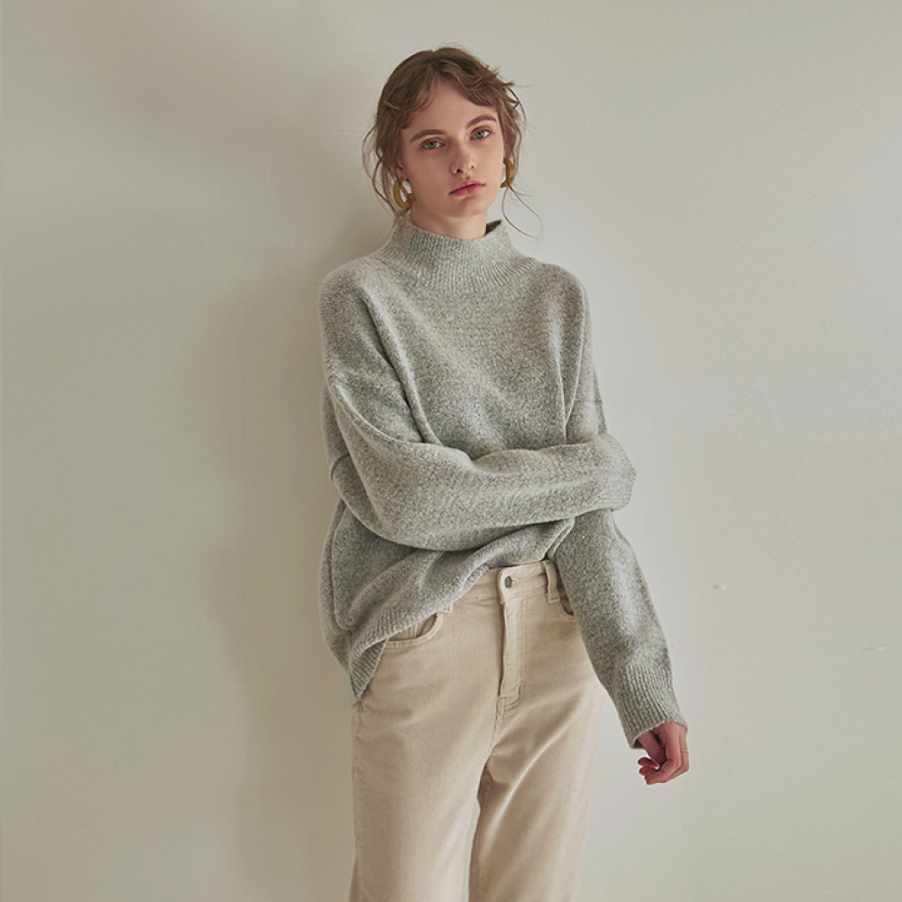 [YAN13] SOFT HALF NECK SWEATER_GRAY