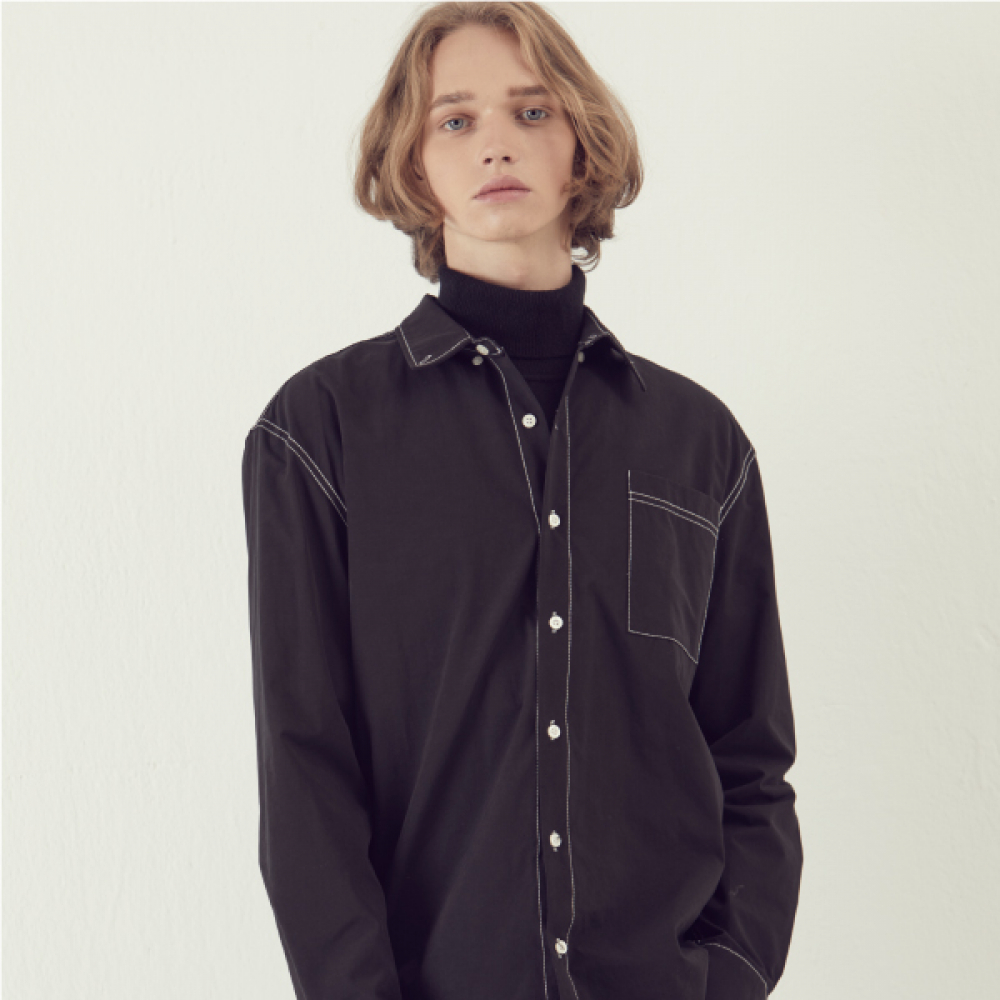 [아르테노] Solid Stitch Shirts - Black