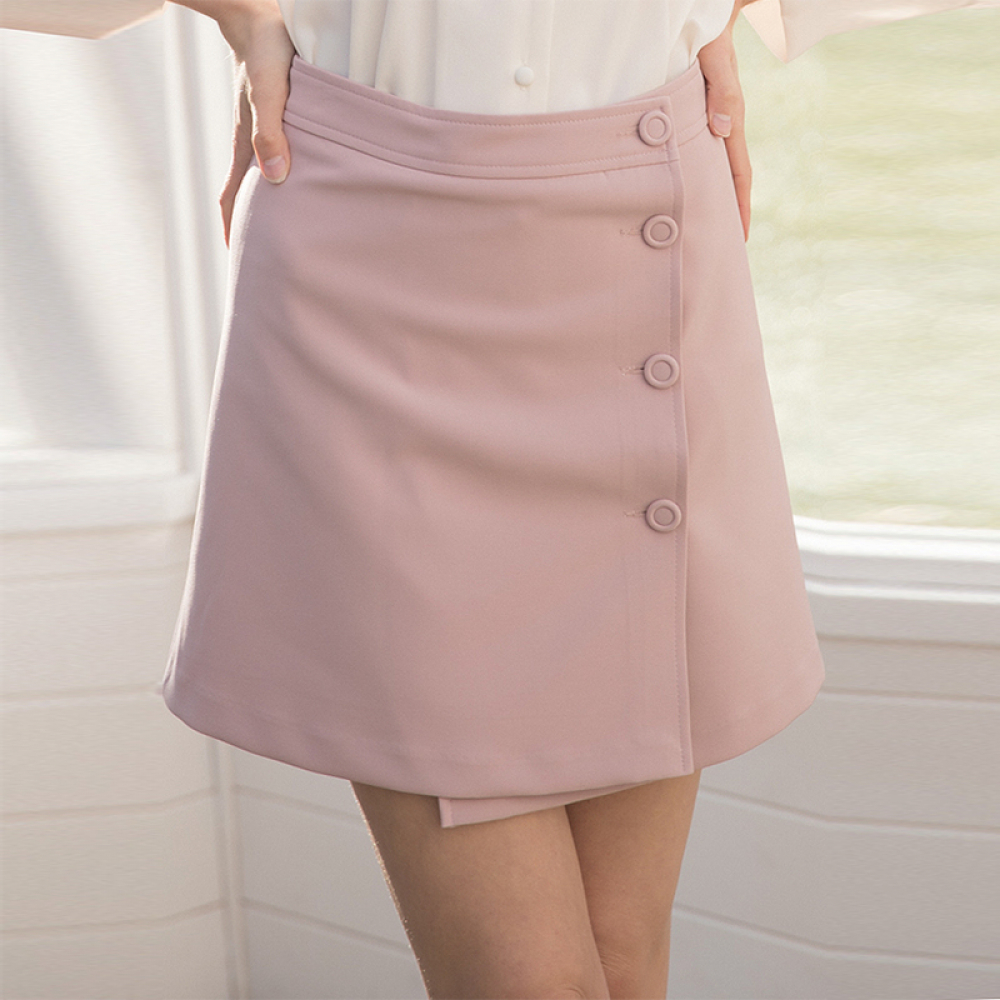 [클렛] POINT BUTTON WRAP SKIRT PINK