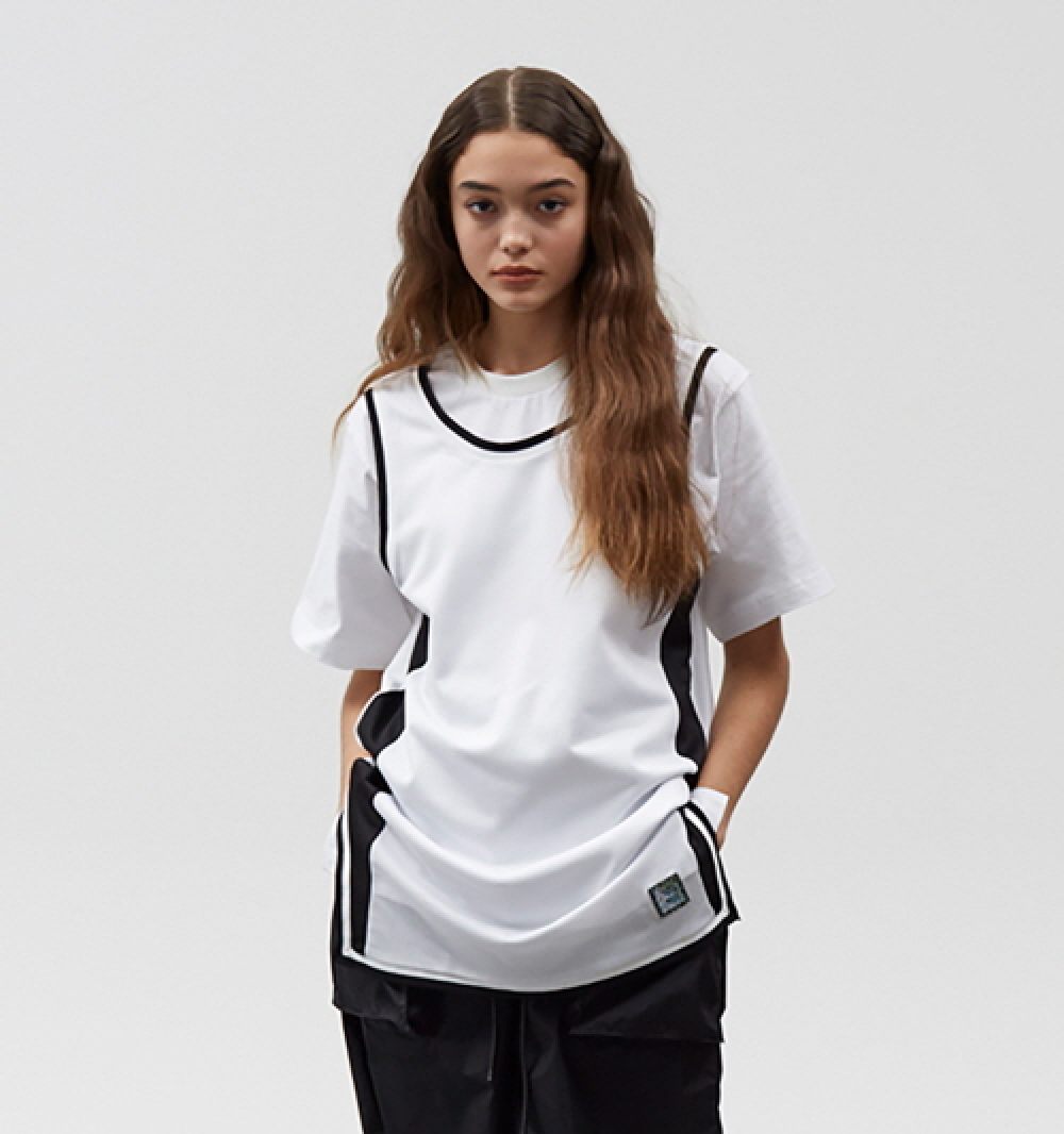 [디바이디그낙] Mesh Layered T-Shirts (WH)