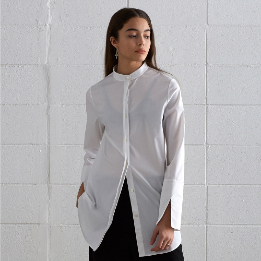 [디바이디그낙] China Collar Long Shirts (WH)