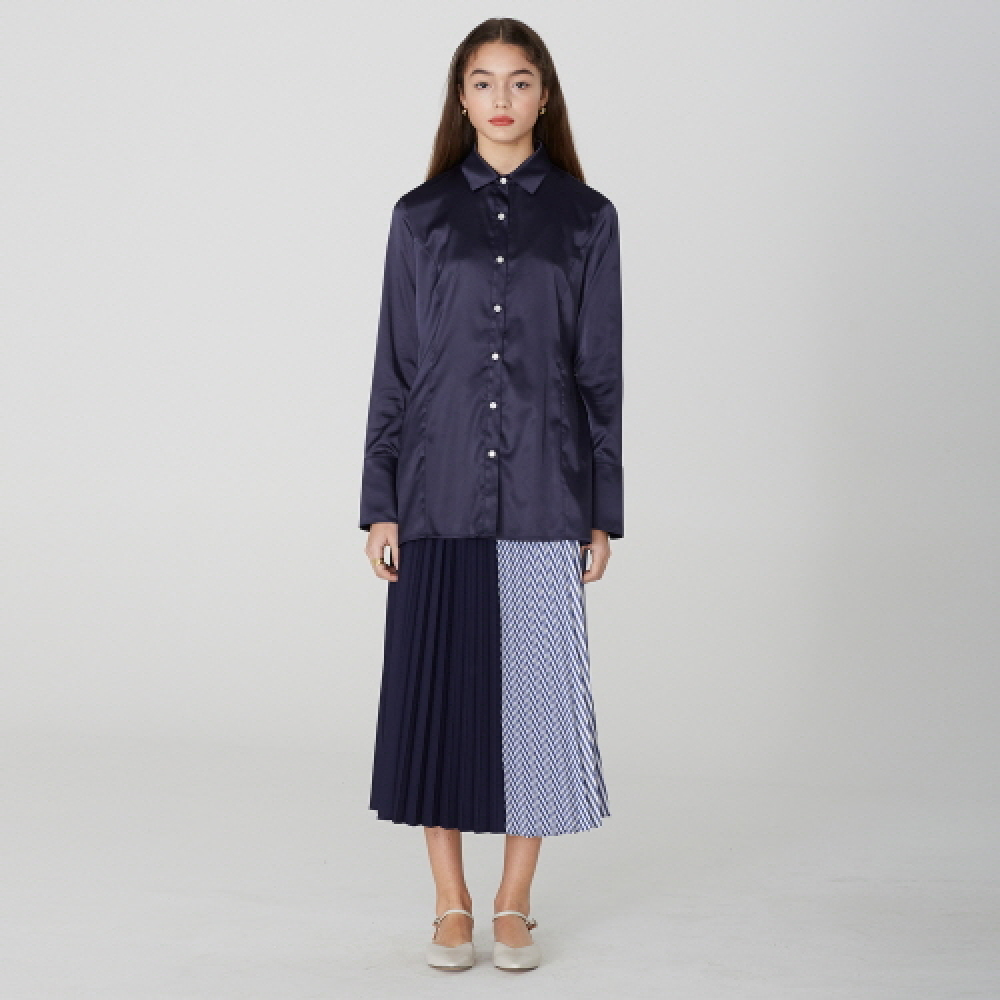 [디바이디그낙] Stripe Pleated Long Skirt (NA)
