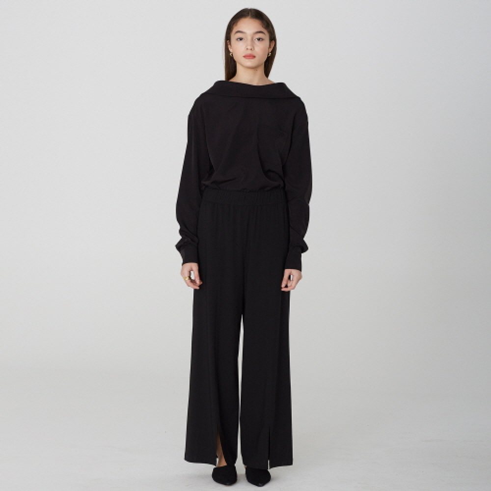 [디바이디그낙] Front Slit Wide Pants (BK)