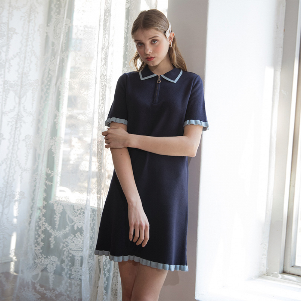 [클렛] FRILL KNIT DRESS NAVY