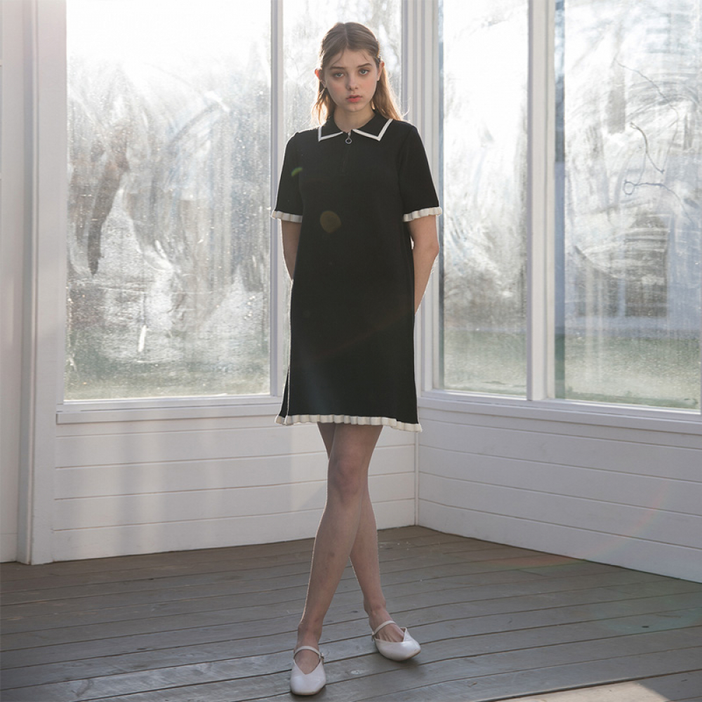 [클렛] FRILL KNIT DRESS BLACK