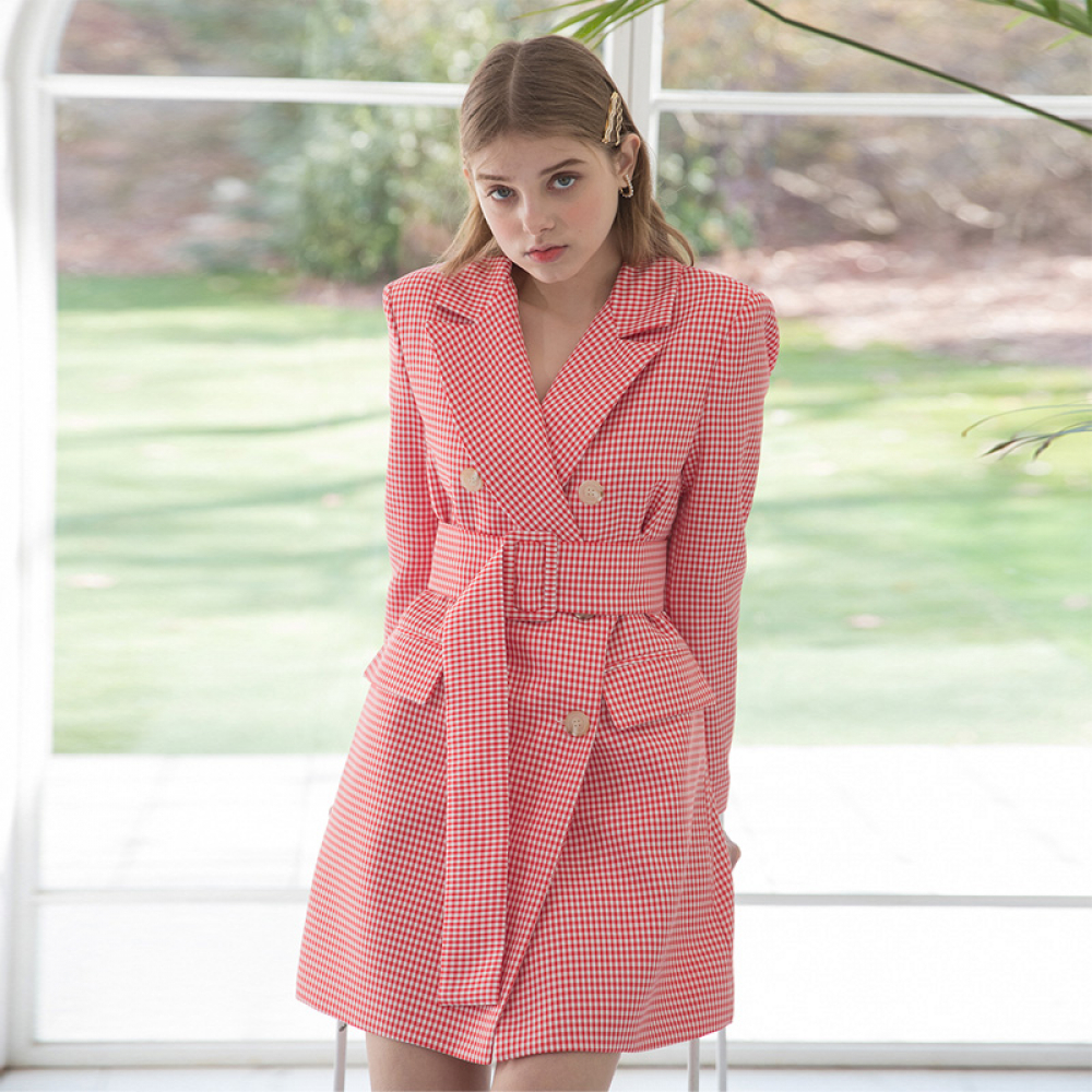 [클렛] GINGHAM JACKET DRESS CORAL