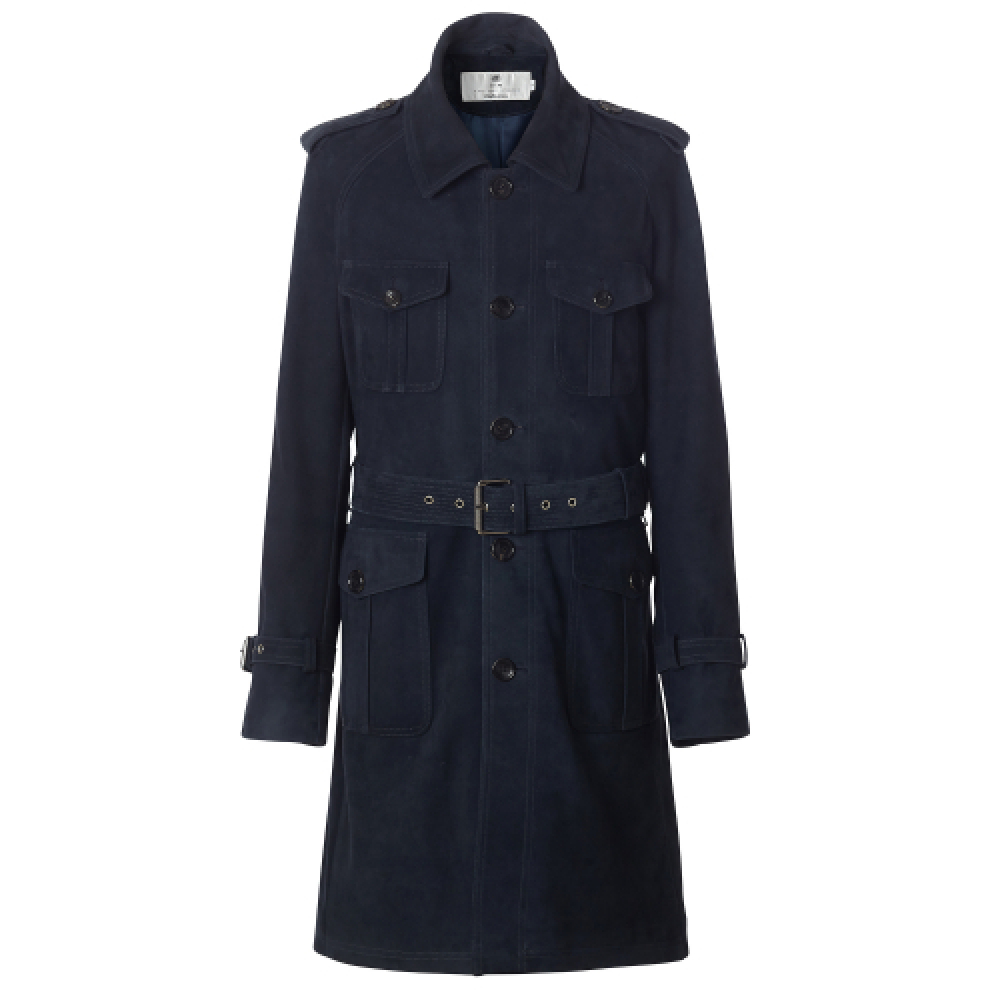 [암위] [아뮈] [AM.WE] NAVY SUEDE FIELD TRENCH