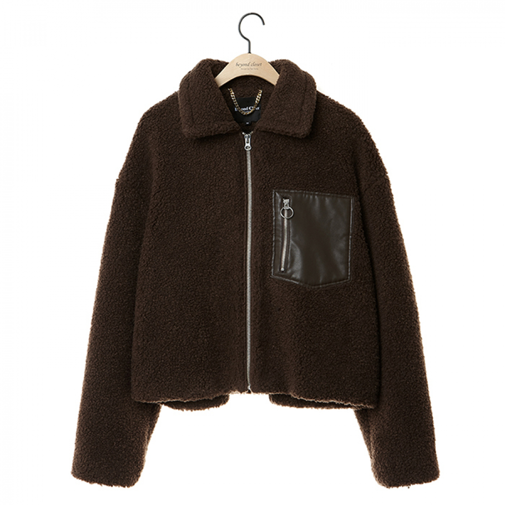 [COLLECTION]FUR MIX LEATHER ZIP-UP JUMPER BROWN