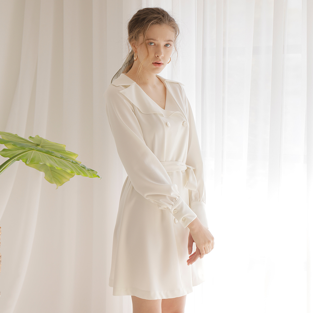 [와드로브] DOUBLE BUTTON FLARE ONE-PIECE_IVORY