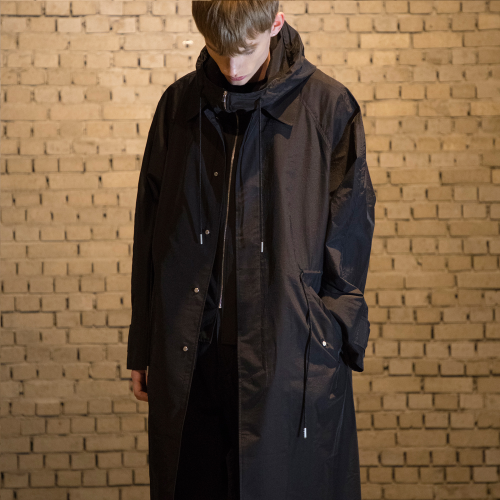 [노이어] Hooded Synthetic Balmacaan Coat