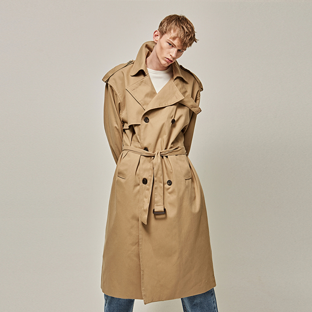 [YAN13] FLAP OVER SIZE TRENCH COAT_BEIGE