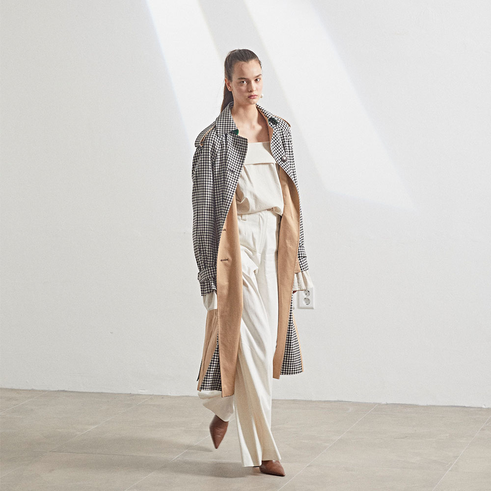 [MUSEE]Bruxelle Oversized Trench Coat_Gingham
