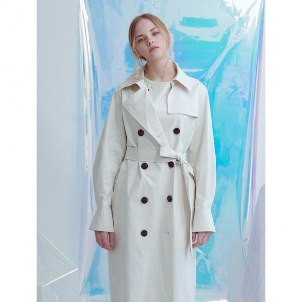 [VOYONN] 19 S/S CREAM LONG TRENCH COAT
