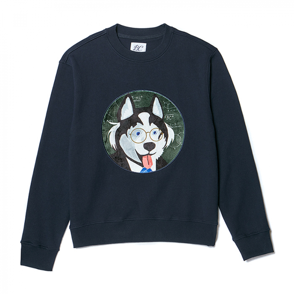 [NOJAMBOT X BC]CM DOG PATCH SWEAT-SHIRTS NAVY