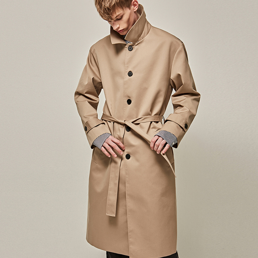 [YAN13] MINIMAL SINGLE TRENCH COAT_BEIGE