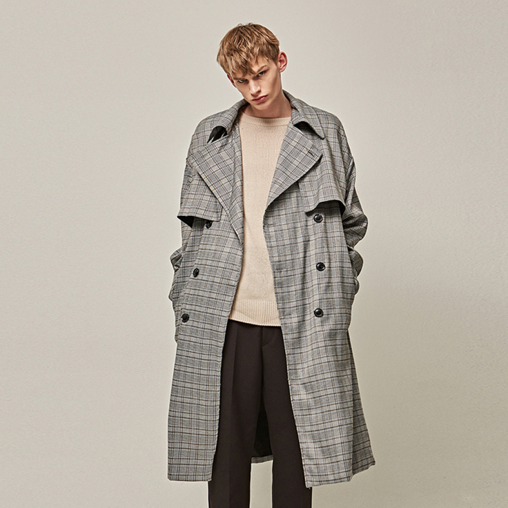 [YAN13] LONG FLAP TRENCH COAT_GRAY